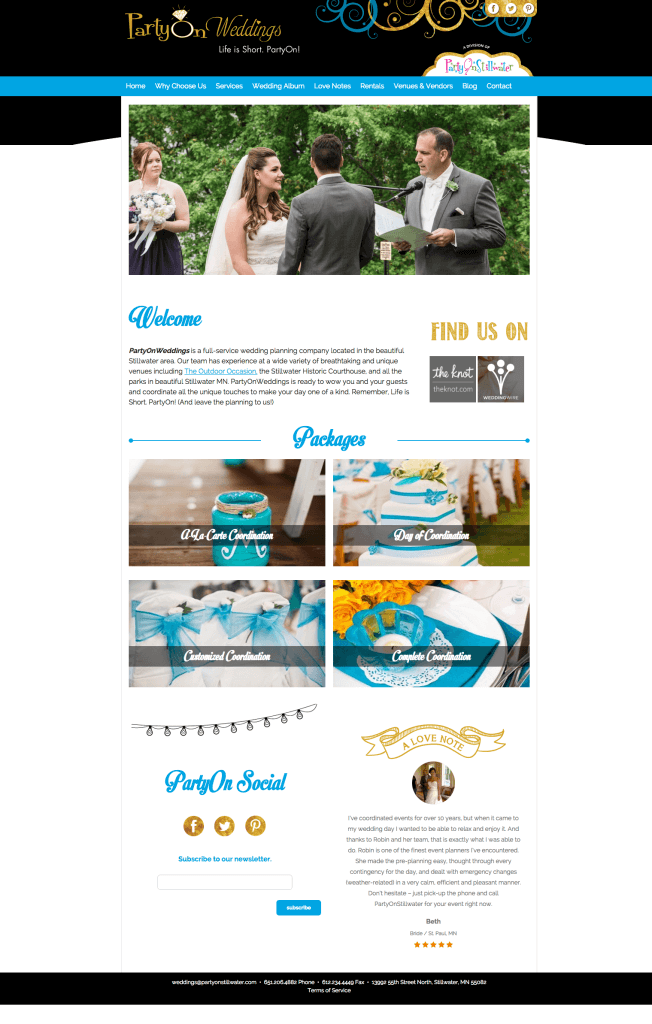 PartyOnWeddings home page