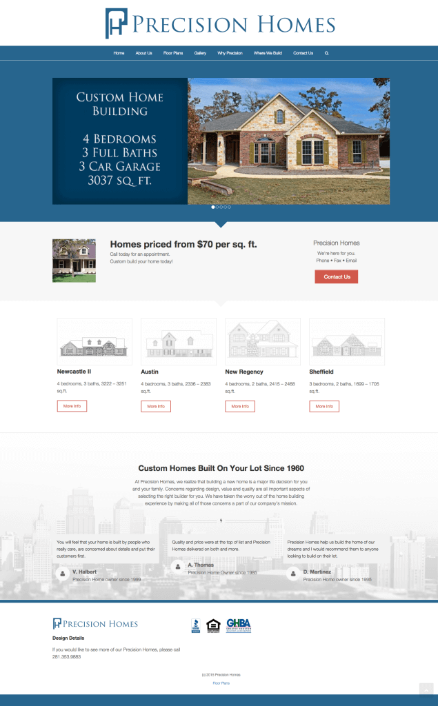 Precision Homes home page