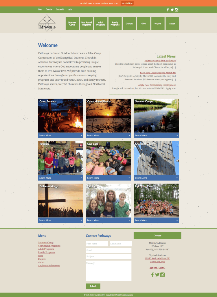 Pathways Bible Camps homepage