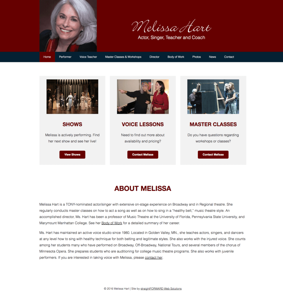 Melissa Hart home page